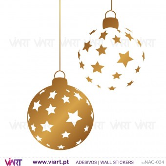 "Set of 6 ""stars"" Christmas balls - Wall stickers - Wall Art - Viart -1"