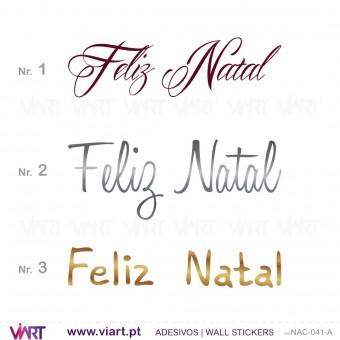 "Frase ""Feliz Natal"" - Versão 2 - Vinil Autocolante Decorativo! Decoração Natal - Viart -1"