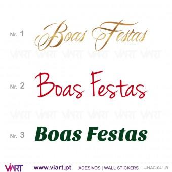 """Frase """" Boas Festas"""" - Versão 2 - Vinil Autocolante Decorativo! Decoração Natal - Viart -1"""