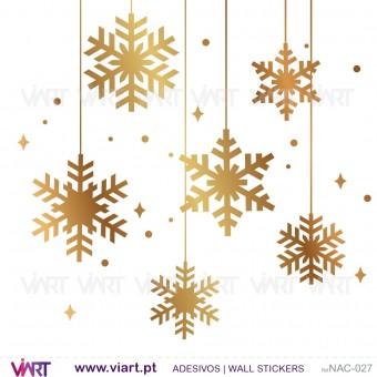 Conjunto de 12 flocos de neve - Vinil Autocolante Decorativo! Decoração Natal - Viart -1