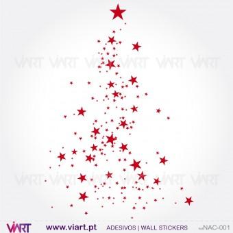 """Árvore de Natal """"Estrelas"""" - Vinil Autocolante Decorativo! Decoração Natal - Viart -1"""