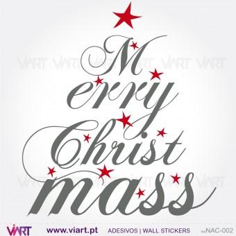 """Árvore de Natal """"Merry Christmas"""" - Vinil Autocolante Decorativo! Decoração Natal - Viart -1"""