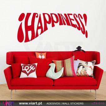 HAPPINESS! Vinil Autocolante para Decoração - Viart-1