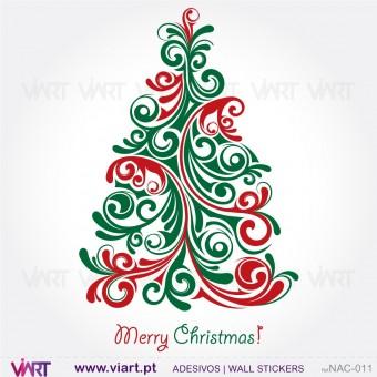 """Árvore de Natal """"Floral"""" - Vinil Autocolante Decorativo! Decoração Natal - Viart -1"""