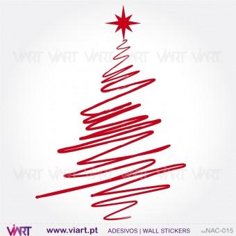 """Árvore de Natal """"Desenhada"""" - Vinil Autocolante Decorativo! Decoração Natal - Viart -1"""