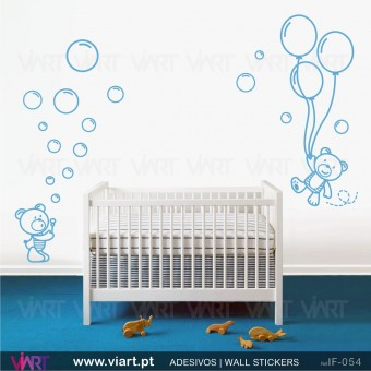 2 Teddy bears with soap bubbles and balloons. Wall stickers - Baby room decoration - Viart -1