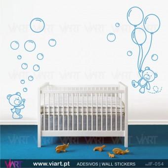 Ursinhos fofinhos com bolinhas e balões! Vinil Autocolante Decorativo Infantil