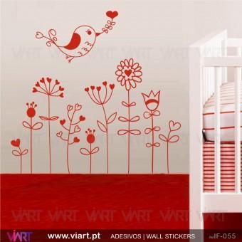 Flores com passarinho do amor - Vinil Autocolante Decorativo! Decoração quarto Bebé - Infantil - Viart -3