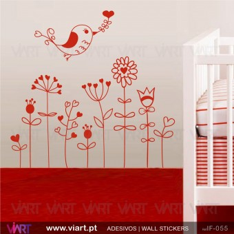 Flowers with love bird. Wall stickers - Baby room decoration - Viart -3