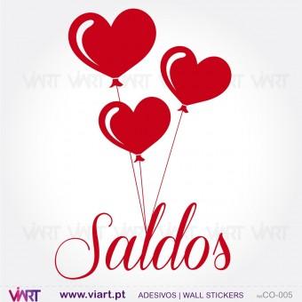 SALDOS wcom corações - Vinil Autocolante Decorativo! Decoração de montras - Viart -1