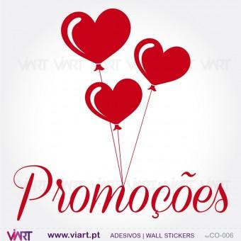 PROMOÇÕES com corações - Vinil Autocolante Decorativo! Decoração de montras - Viart -1