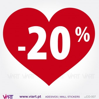 Coração com percentagem - Vinil Autocolante Decorativo! Decoração de montras - Viart -1
