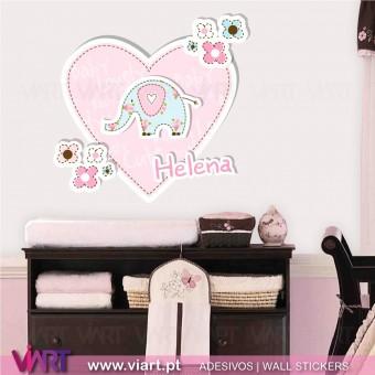 Coração fofinho com nome de bebé - Vinil Autocolante Decorativo! Decoração quarto Bebé - Viart -1