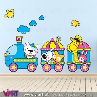 O comboio foi ao zoo! Vinil Autocolante Decorativo! Decoração quarto infantil - Viart -1