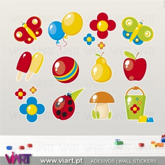 Kit of 12 Charming Wall Stickers - Kids room decoration - Viart -1