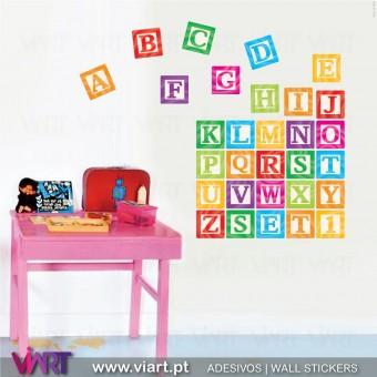ABC aos quadradinhos! :) ! Vinil Autocolante Decorativo! Decoração quarto infantil - Viart -1