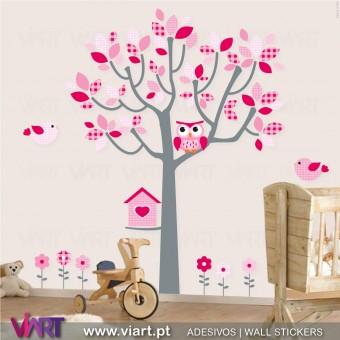 Fantasia Cor de Rosa. Árvore, coruja, passarinhos e flores. Vinis Autocolantes Decorativos! Decoração infantil - Viart -1