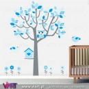 Baby Blue Fantasy. Tree, owl, birds and flowers - Wall Stickers - Kids room decoration - Viart -1