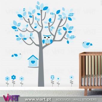 Fantasia Azul Bebé. Árvore, coruja, passarinhos e flores. Vinis Autocolantes Decorativos! Decoração infantil - Viart -1