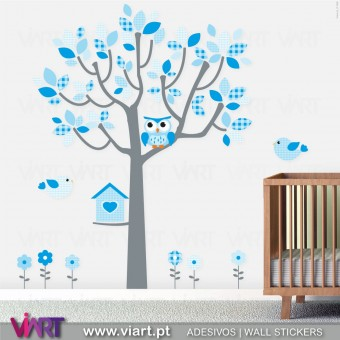 Fantasia Azul Bebé! Árvore Autocolante Infantil