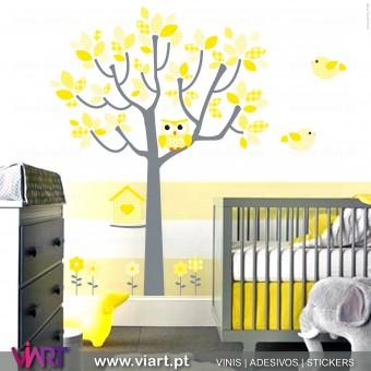 Fantasia Amarela. Árvore, coruja, passarinhos e flores. Vinis Autocolantes Decorativos! Decoração infantil - Viart -1