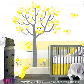 Yellow Fantasy. Tree, owl, birds and flowers - Wall Stickers - Kids room decoration - Viart -1