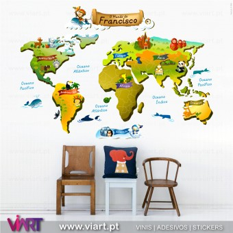 Mapa mundo personalizável com nome de criança! Vinil Autocolante Decorativo! Decoração infantil - Viart -1