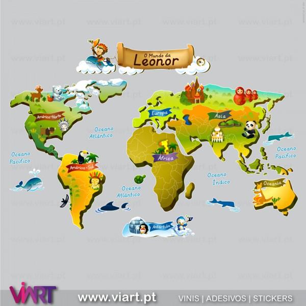 mapa mundi criança O mundo do seu bebé! Vinil Autocolante para Decoração Infantil  Viart mapa mundi criança