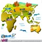 World map with personalised baby name. Wall Stickers - Kids room decoration - Viart -Detail-2