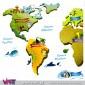 Mapa mundo personalizável com nome de criança! Vinil Autocolante Decorativo! Decoração infantil - Viart -detalhe-3