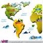 World map with personalised baby name. Wall Stickers - Kids room decoration - Viart -Detail-3
