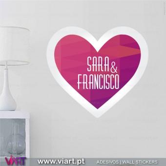 Coração personalizável com mensagem! Vinil Autocolante Decorativo! Viart -1