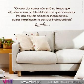 """""""O valor das coisas..."""" Fernando Pessoa - Vinil Decorativo."""