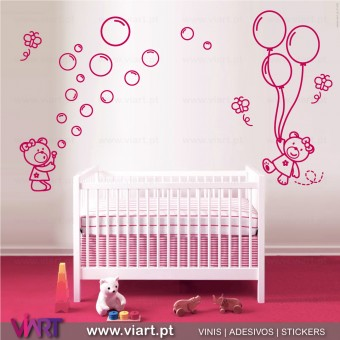 2 Teddy bears with soap bubbles, butterflies and balloons. Wall stickers - Baby room decoration - Viart -1