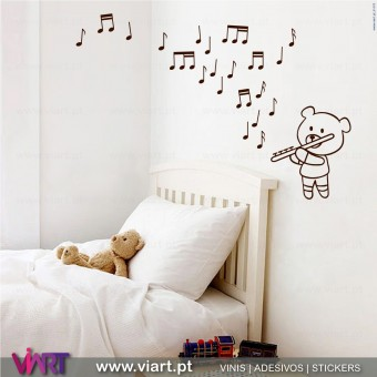 Ursinho musical! - Vinis Autocolantes Decorativos de Parede! Decoração Bebé - Infantil - Viart -1