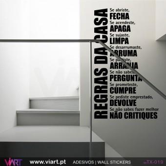 Regras da casa! Vinil Autocolante Decorativo Parede Decoração - Viart -1