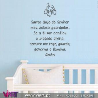 Oração Santo Anjo do Senhor... Vinis Autocolantes Decorativos de Parede! Viart - 3