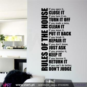 Rules of the house! Vinil Autocolante Decorativo Parede Decoração - Viart -1