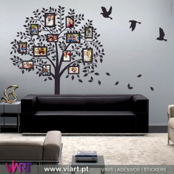 Árvore para Fotografias com Aves. Vinil Autocolante Decorativo.