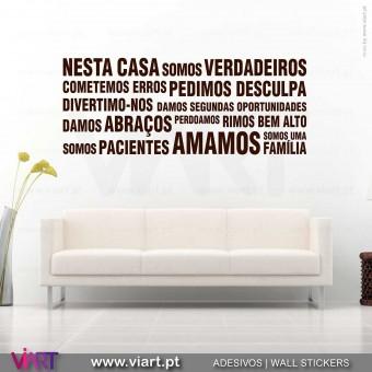 """""""Nesta Casa"""" Horizontal - Vinil Decorativo Parede! Autocolante para parede - Viart -1"""