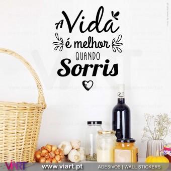 A vida é melhor quando sorris! Vinil Decorativo Parede! Autocolante para parede - Viart - 2