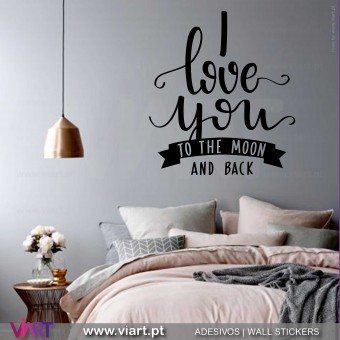 I love you to the moon and back! Vinil Decorativo Parede! Autocolante para parede - Viart - 1
