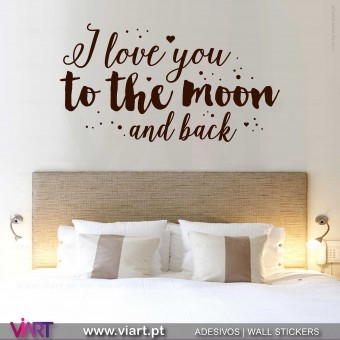 I love you to the moon and back... 2 Vinil Decorativo Parede! Autocolante para parede - Viart - 1