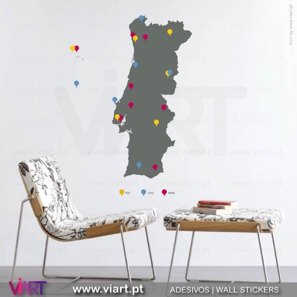 mapa portugal paredes Portugal pins e legenda! Vinis Autocolantes Decorativos de  mapa portugal paredes