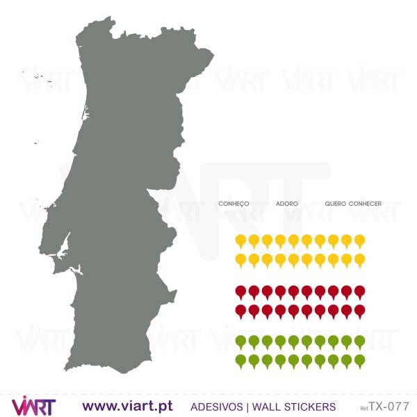 mapa de portugal vazio Portugal pins e legenda! Vinis Autocolantes Decorativos de  mapa de portugal vazio