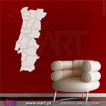 Mapa de Portugal com distritos! Vinil Decorativo Parede! Autocolante para parede - Viart - 1