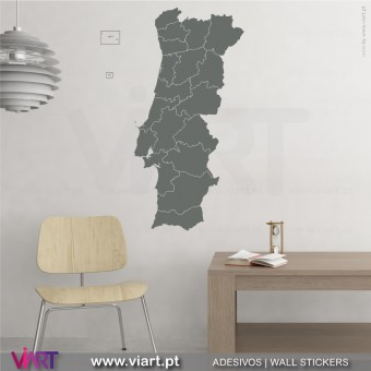Mapa de Portugal com distritos! Vinil Decorativo Parede!