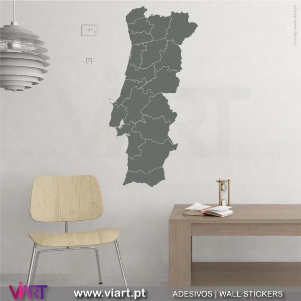 Mapa De Portugal Com Distritos Vinis Autocolantes Decorativos De