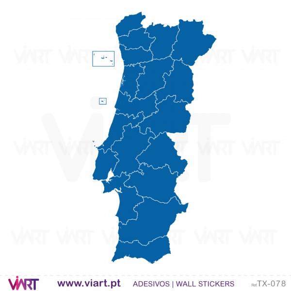 mapa de portugal vazio Mapa de Portugal distritos! Vinis Autocolantes Decorativos de  mapa de portugal vazio