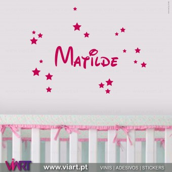 Nome de Menina Personalizável com Estrelas 2. Vinil Decorativo Parede! Decoração em vinil adesivo - Viart 1